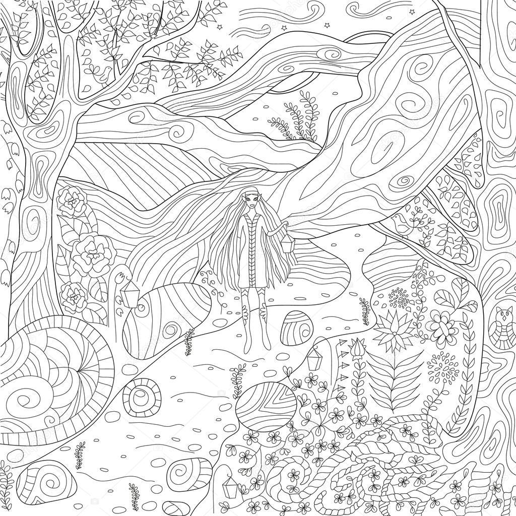 Elfos y hadas bosque — Vector de stock © svitlana_samokhina #95383492