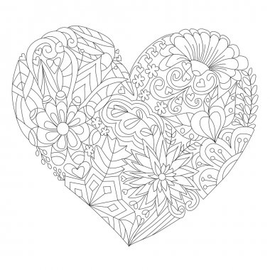 Hand-drawn Heart with floral doodle pattern