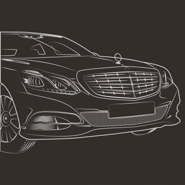 A line drawing of a Mercedes.