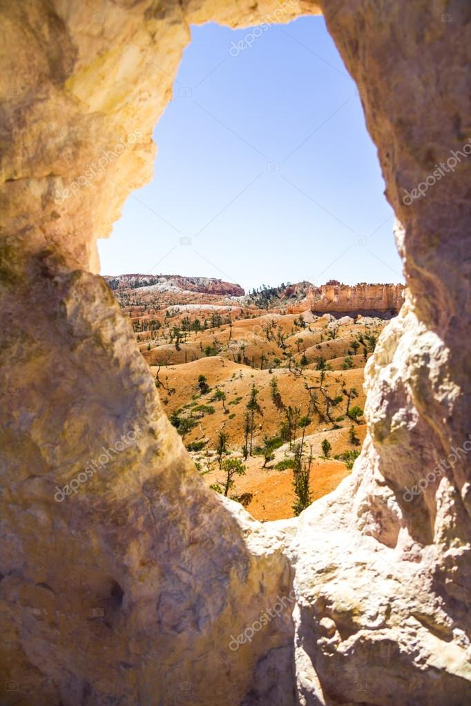 Landscape of Bryce Canyon through stone window