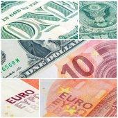 Americké jednodolarové bankovce a deset euro