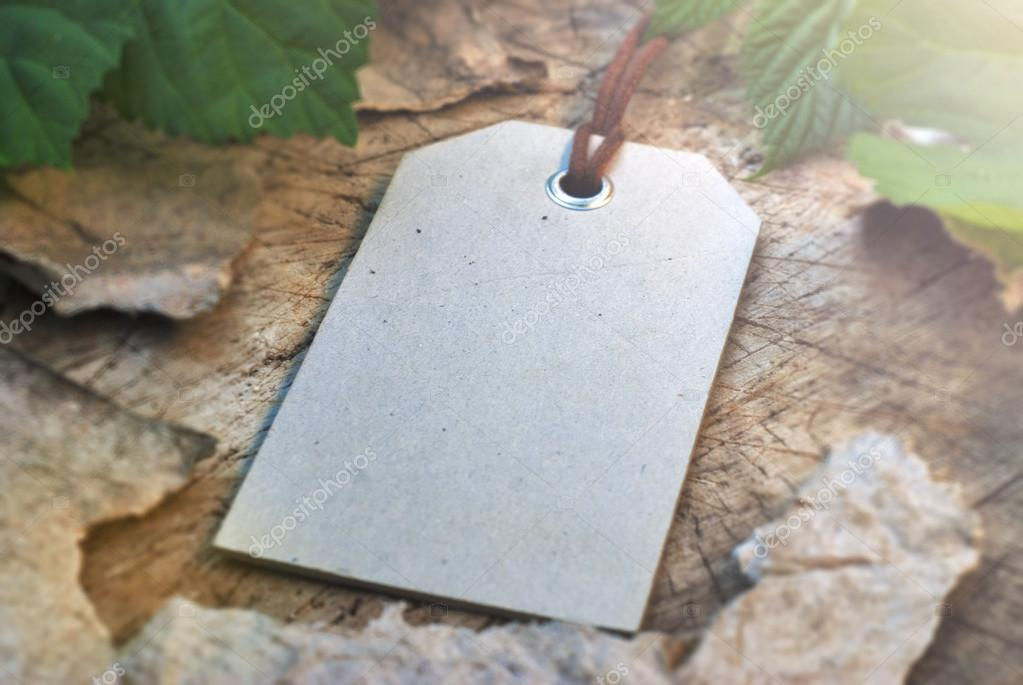 Mock-up label on the stump