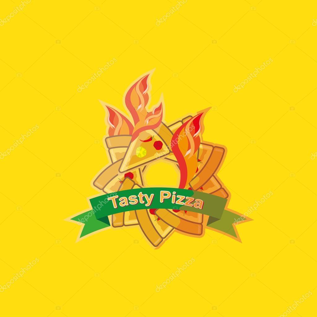 Pizza Logo Symbols For Fast Food Restaurant Stock Vector