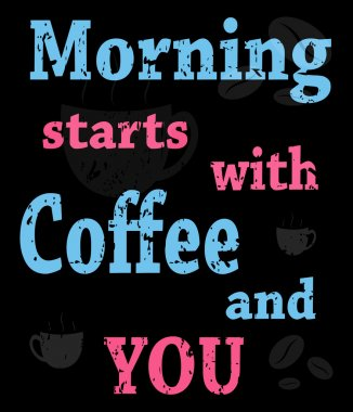 colorful poster with words about coffee