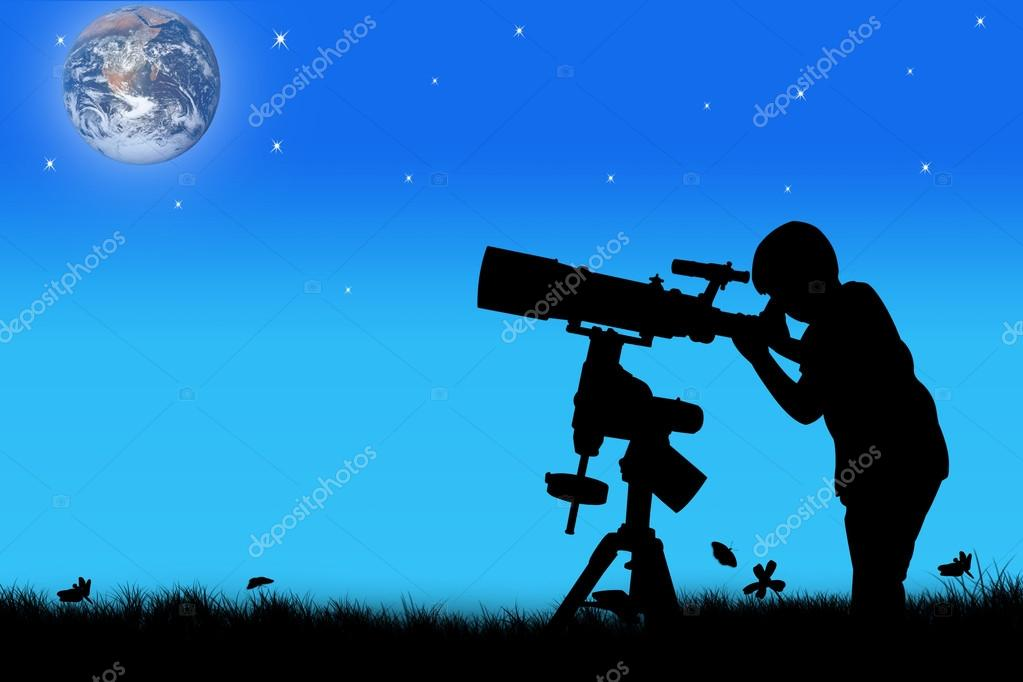 silhouette of little boy looking through a telescope at night