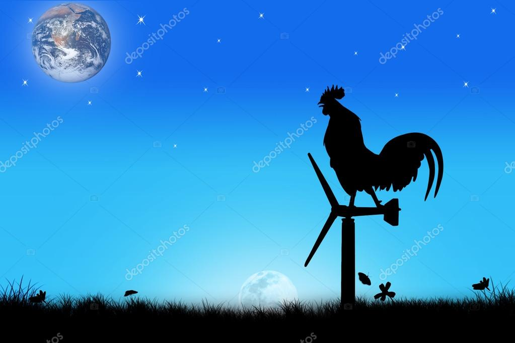 Roosters crow stand on a wind turbine on sunrise  background,Cre
