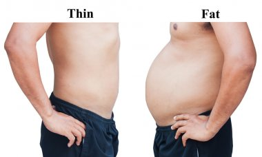 different of man body before and after  not exercise and dieting