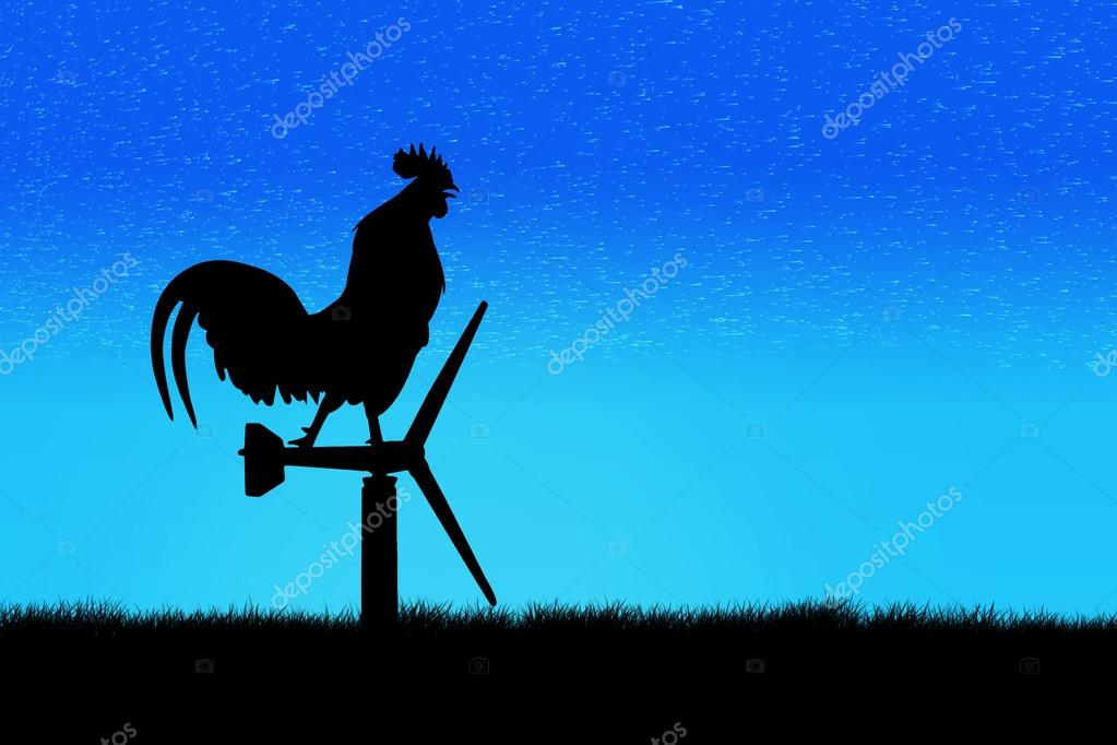 Roosters crow stand on a wind turbine. In the morning sunrise ba