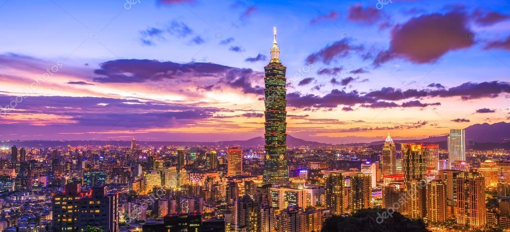 City of Taipei at sunset