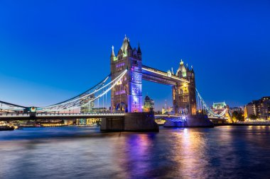 Tower bridge with illuminated light at night in London, UK
