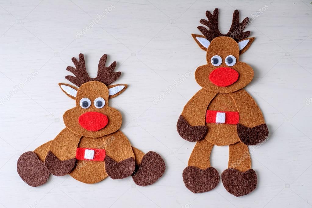 Grußkarte Handarbeit Weihnachten Rudolph Rentier aus Filz mit roten ...