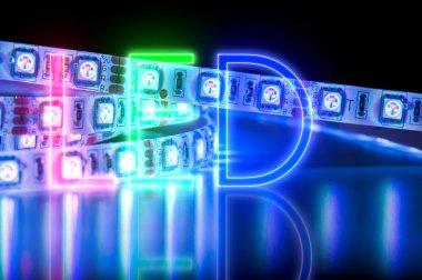 close up led strip lights, blue color