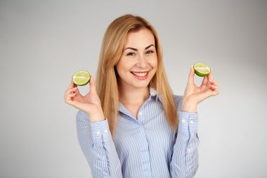 Healthy girl in diferent emotions, with lime