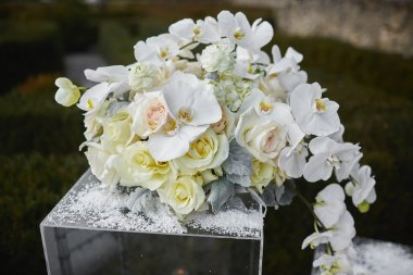 soft focus of beautiful flower decoration in the wedding ceremon