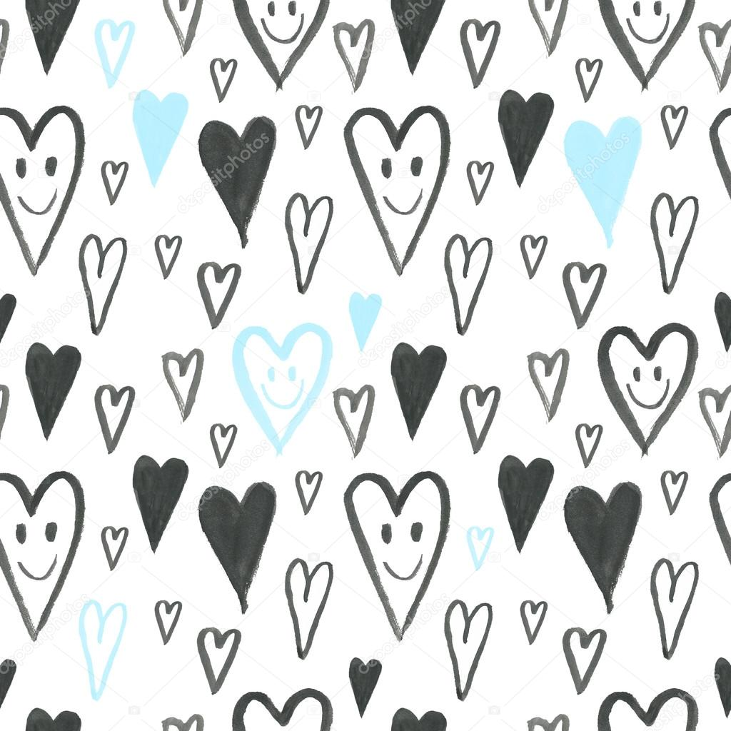 hand drawn pattern with smiling hearts cartoon background romantic 100% Test Symbol hand drawn pattern with smiling hearts cartoon background romantic pattern love hearts smiley