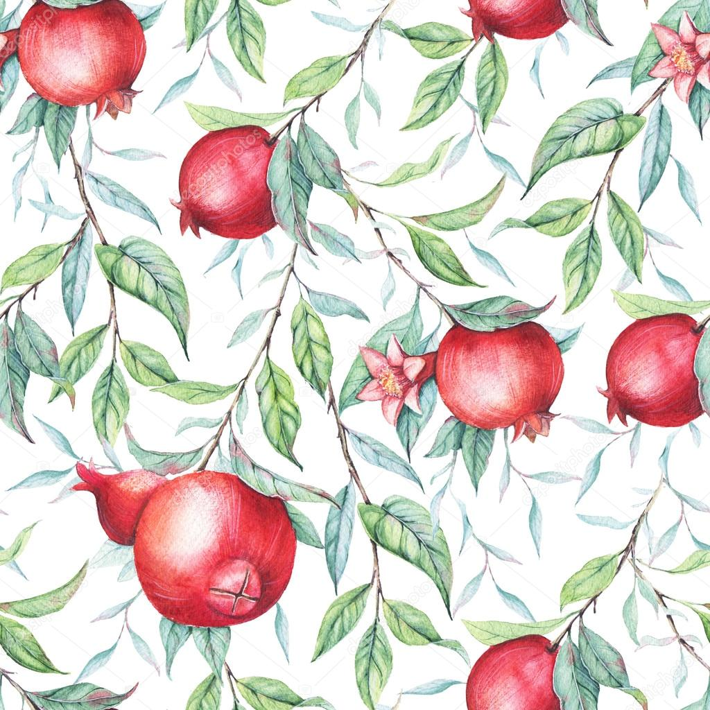 Hand drawn watercolor seamless pattern of pomegranate branch