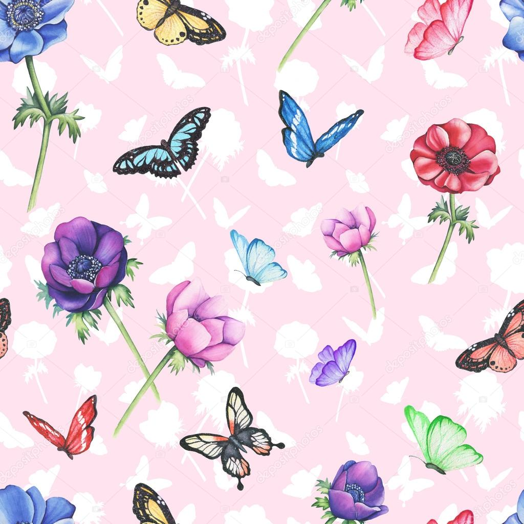 Seamless pattern anemones with butterflies. Watercolor