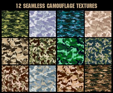 set of seamless texture military camouflage