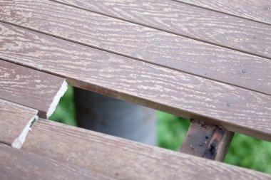 A hole on broken wooden floor