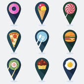Sada pro mapu s potraviny ploché ikony barevné značky