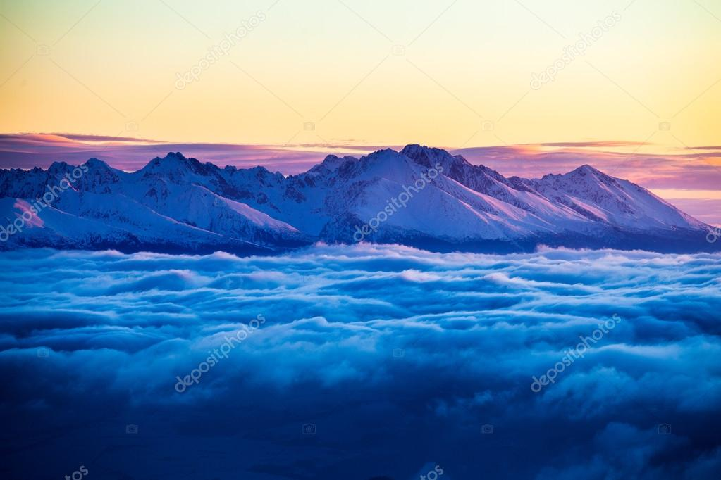 Wonderful morning landscape with cloud inversion.