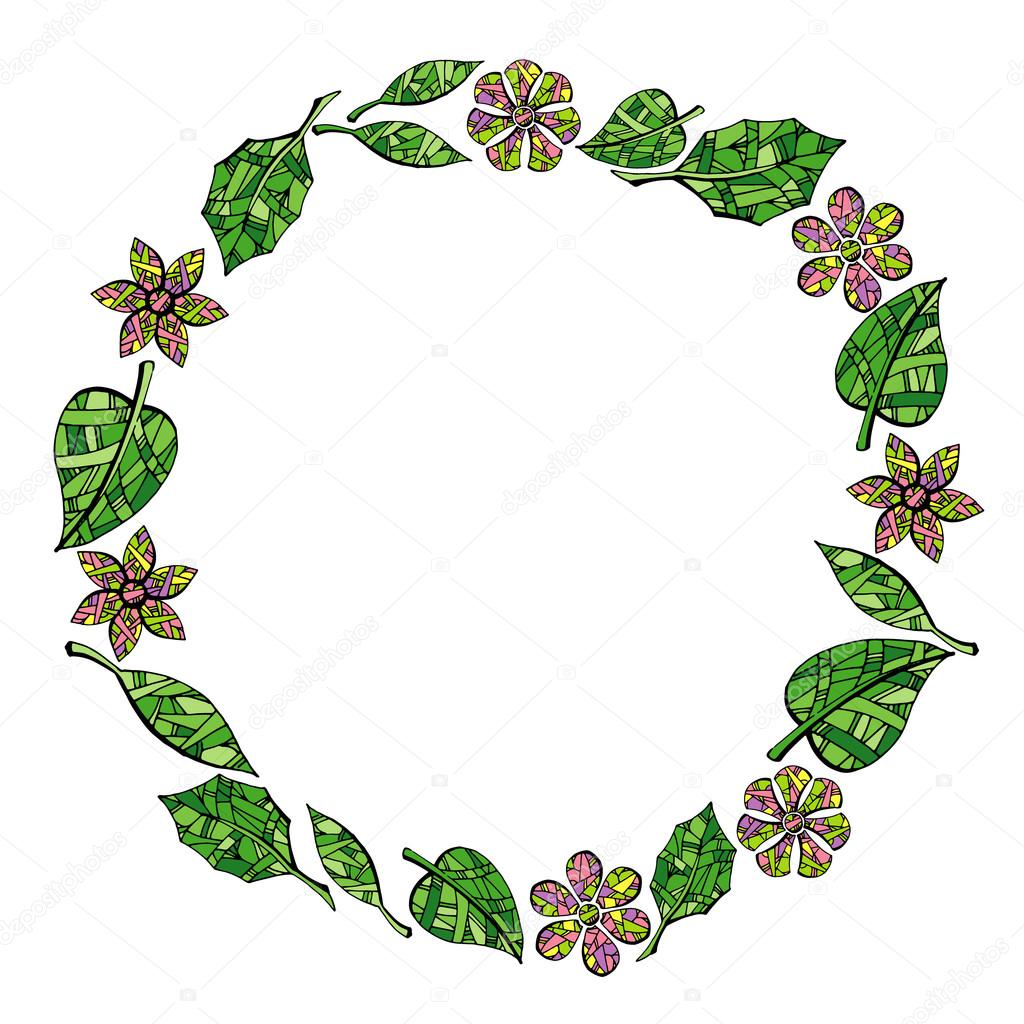 Frame of leaves and flowers on white background