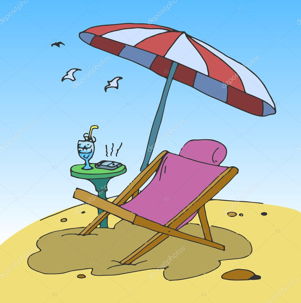 liegestuhl am strand stockvektor hlivnyk 109715188. Black Bedroom Furniture Sets. Home Design Ideas