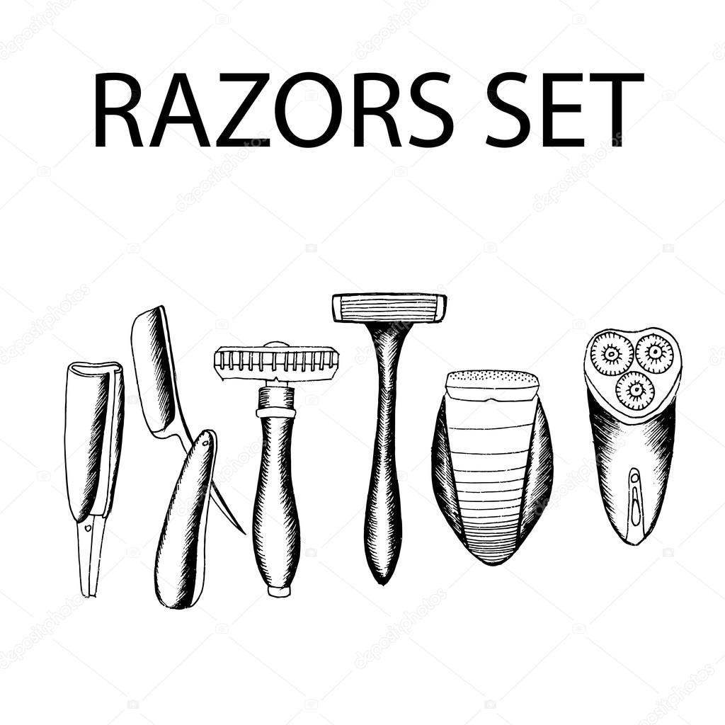 Evolución de afeitar set. Ilustración stock vector dibujado a mano. Blanco  y negro pizarra de dibujo — Vector de hlivnyk.a.gmail.com 8f2567f0e5fc
