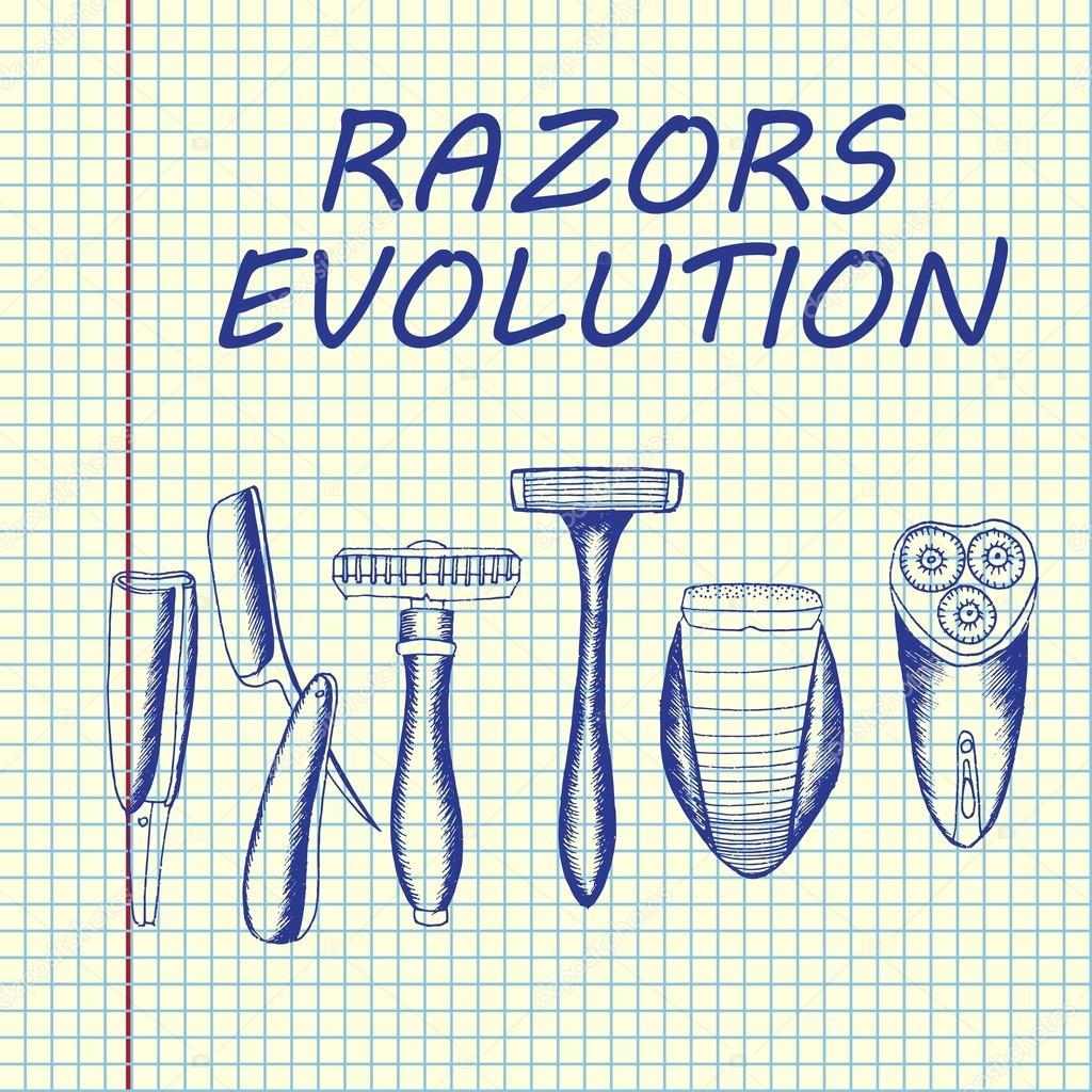 Evolución sistema de afeitado — Archivo Imágenes Vectoriales ...