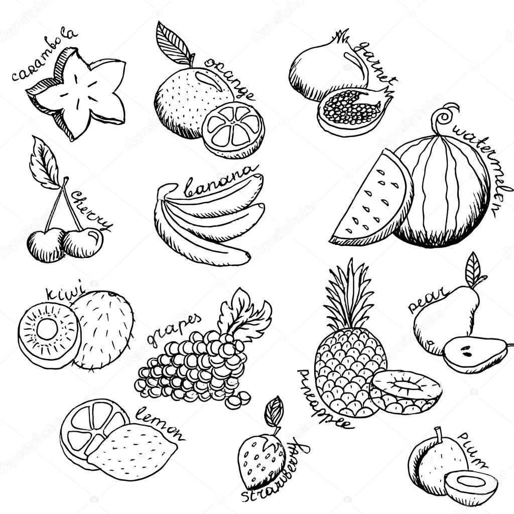 Fruit Dessin ensemble d'icônes de fruits dessin animé — image vectorielle hlivnyk