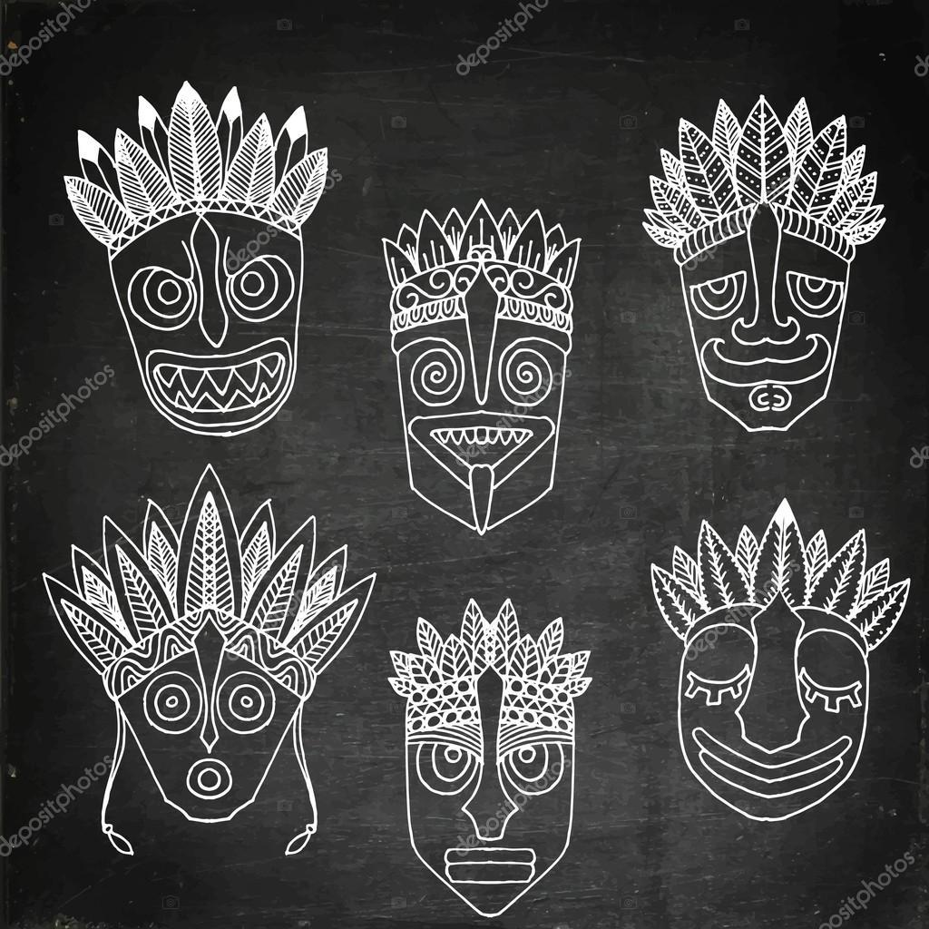 Jeu de masques africains ethniques tribal sur fond blanc - Dessin de masque africain ...