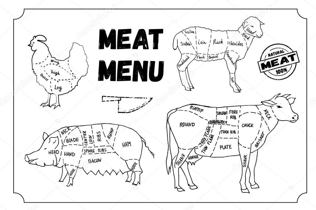 Et Menüsü Semboller Sığır Eti Domuz Eti Tavuk Kuzu Kümesi
