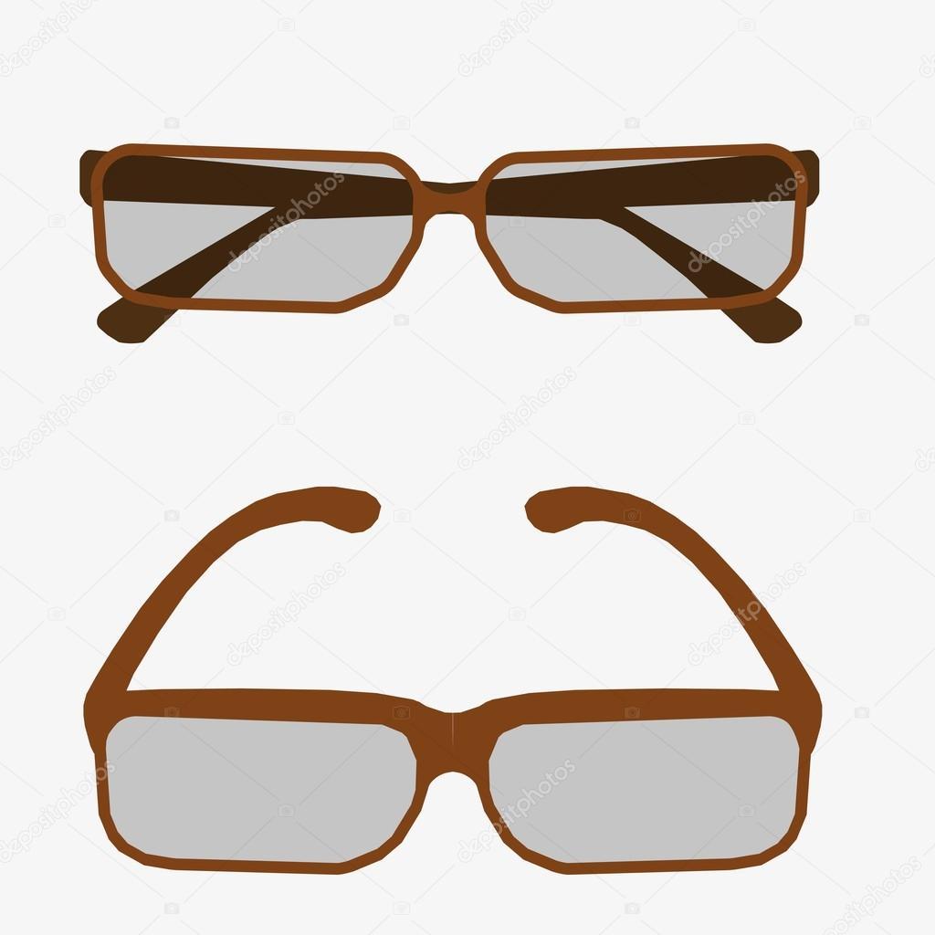 Vector ilustración metal enmarcadas gafas geek aislados sobre fondo ...