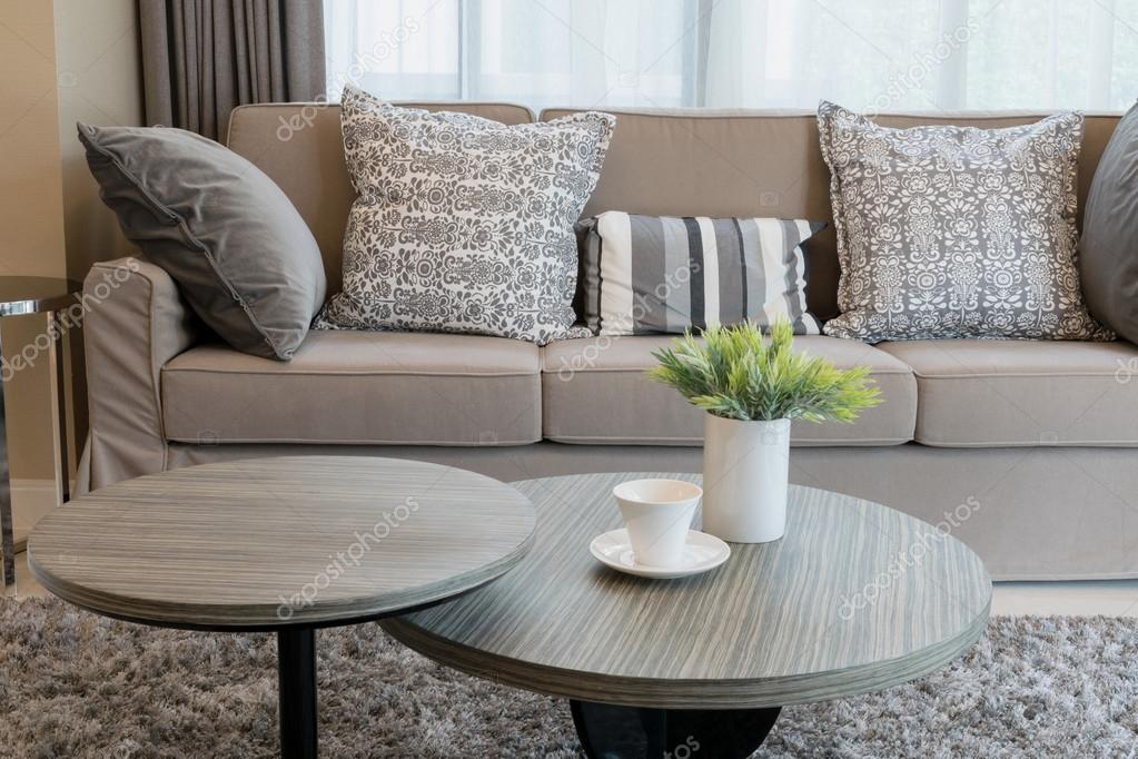 Sturdy Brown Tweed Sofa With Grey Patterned Pillows U2014 Stock Photo