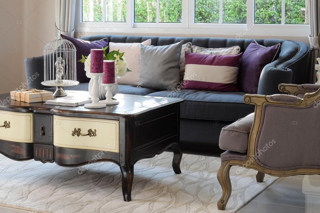 Luxury Living Room Design With Classic Sofa, Armchair And Decorative Set On  Wooden Table U2014