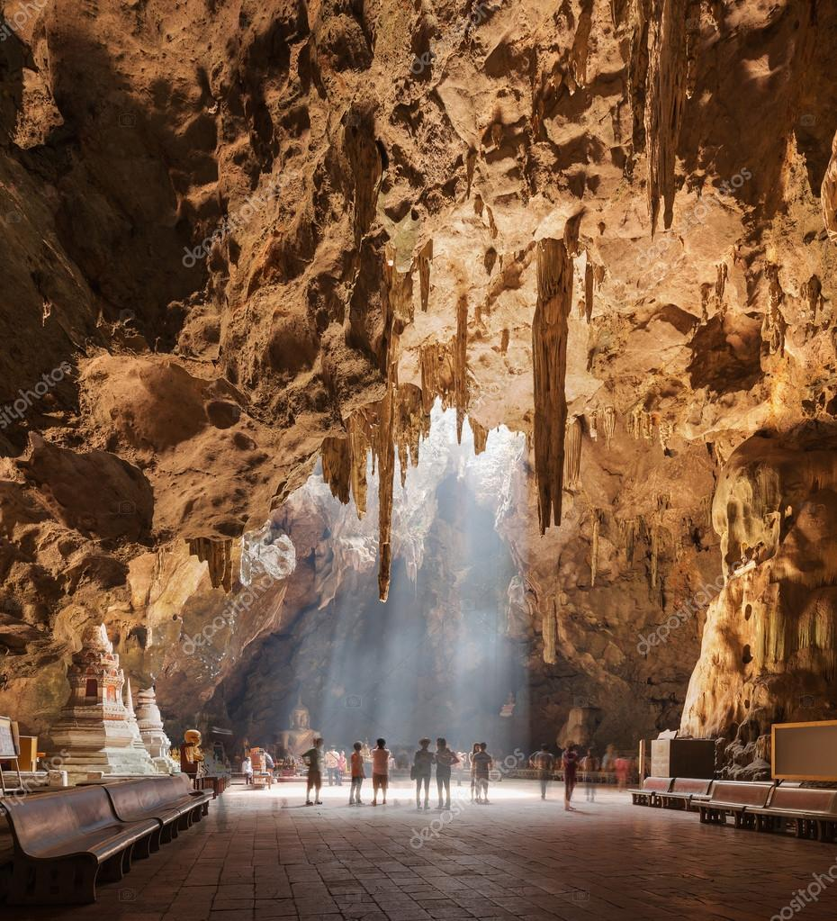 Tham khao luang cave temple.The temple inside of the cave in Phetchaburi, Thailand