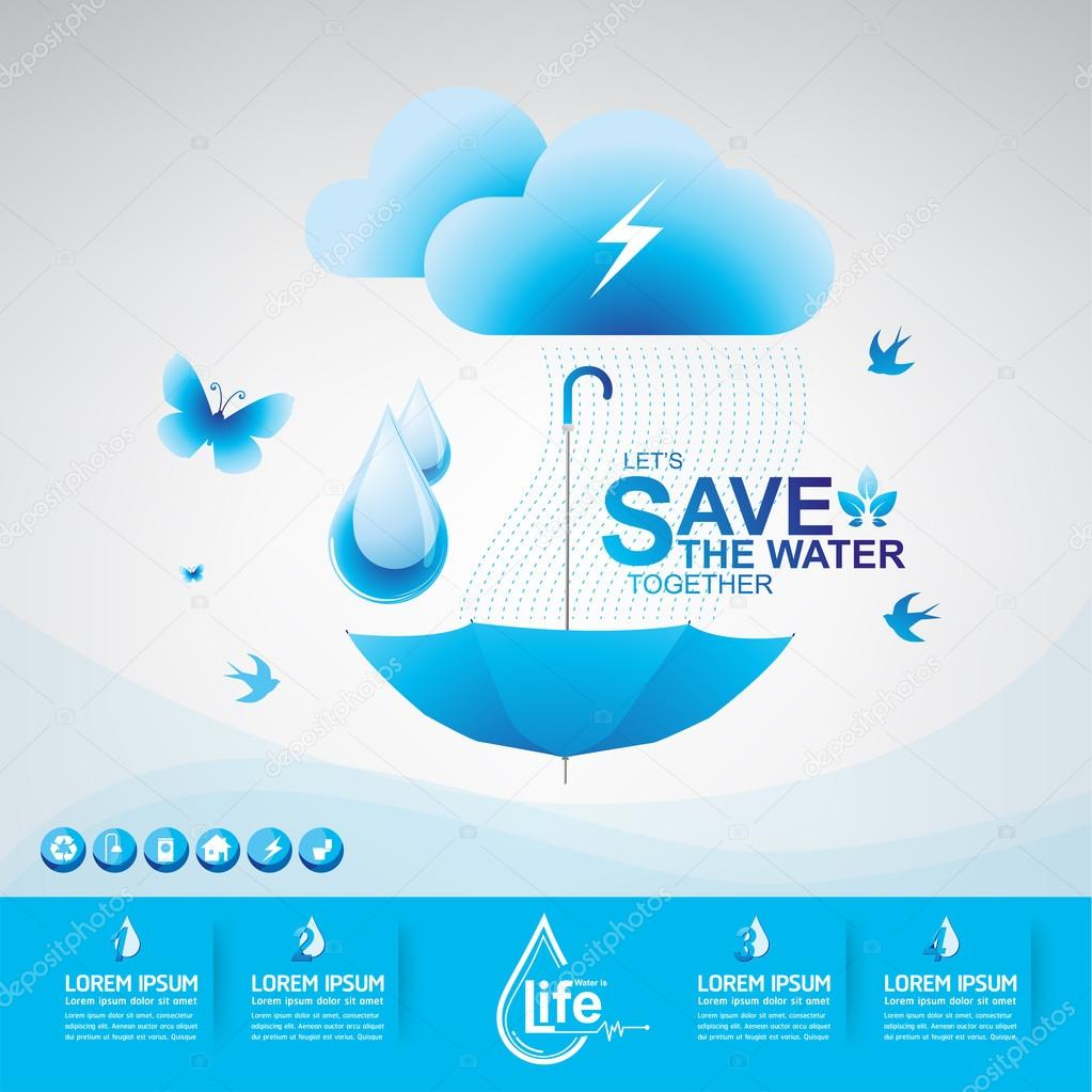 Save Water Vector Concept Ecology