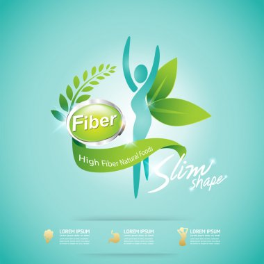 High Fiber Food and Vitamin Vector Concept Label in Background Green