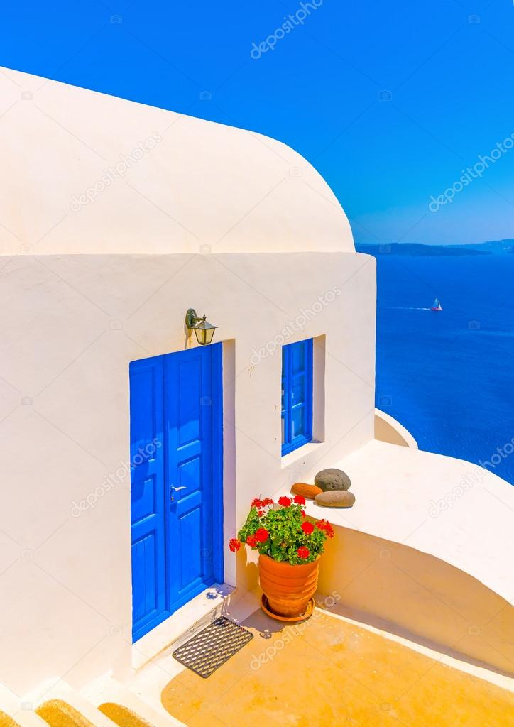 Blue doors in traditional  greek house