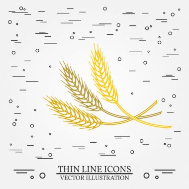 Ears of grain thin line design. Ears of grain pen Icon. Ears of
