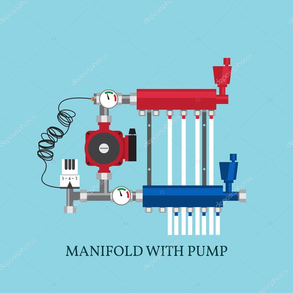 Manifold with Pump for  warm floor.  Vector illustration. Flat h