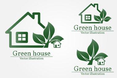 Green house logo. Eco house. Green house Vector. Green house art