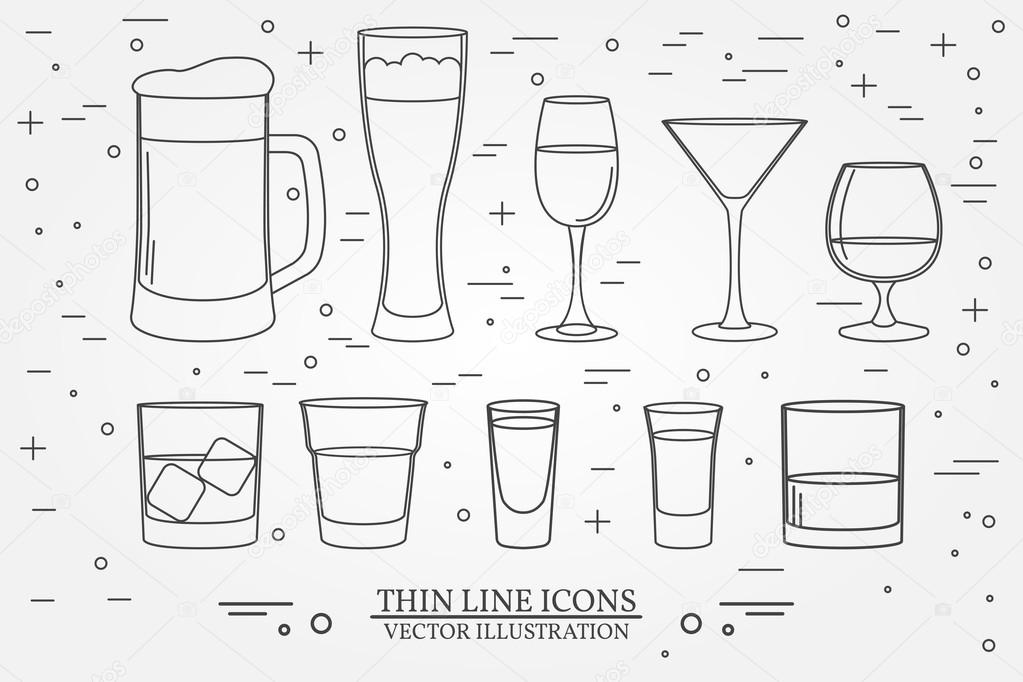 Glasses for alcoholic drinks. Beverage, cocktail, drinks vector