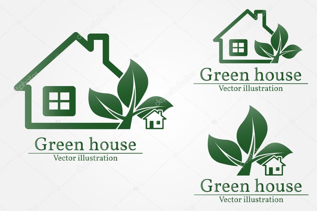 Marchio della casa verde eco casa casa verde vettoriale for Design eco casa verde