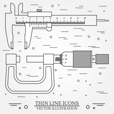 Set vector thin line icons caliper and  micrometer. For web desi