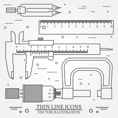 Set vector thin line icons caliper, ruler, pair of compass  and