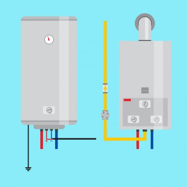 Set of gas water heater and electric water heater. Flat icon for