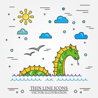 Loch Ness monster logo.