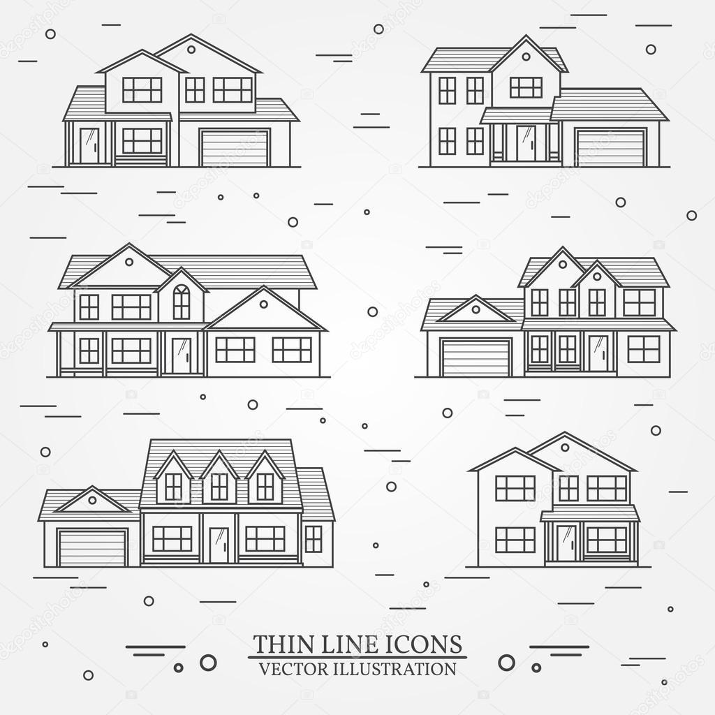 Satz von Vektor dünne Linie Symbol suburban amerikanische Häuser ...