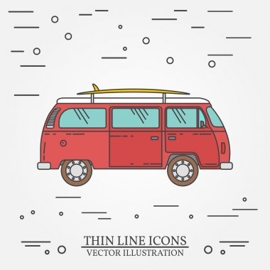 Travel bus family camper with surf board thin line. Traveler truck tourist bus outline icon. RV travel bus grey and white vector pictogram isolated on white. Summer bus family travel concept. Vector i